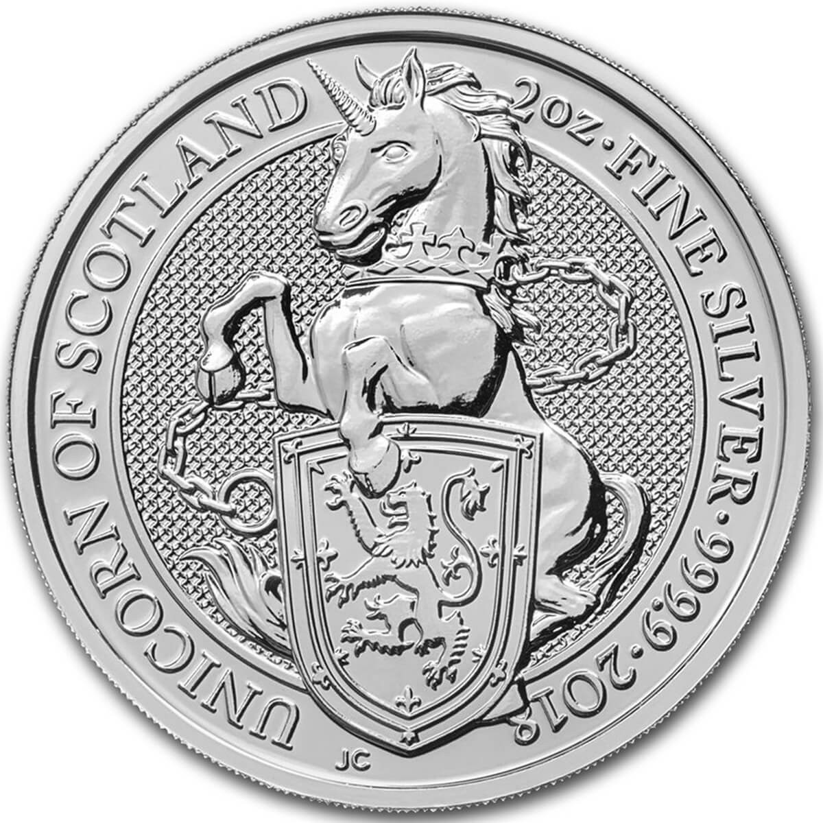 2 Ounce Silver Great Britain Queen's Beasts Unicorn of Scotland 2018