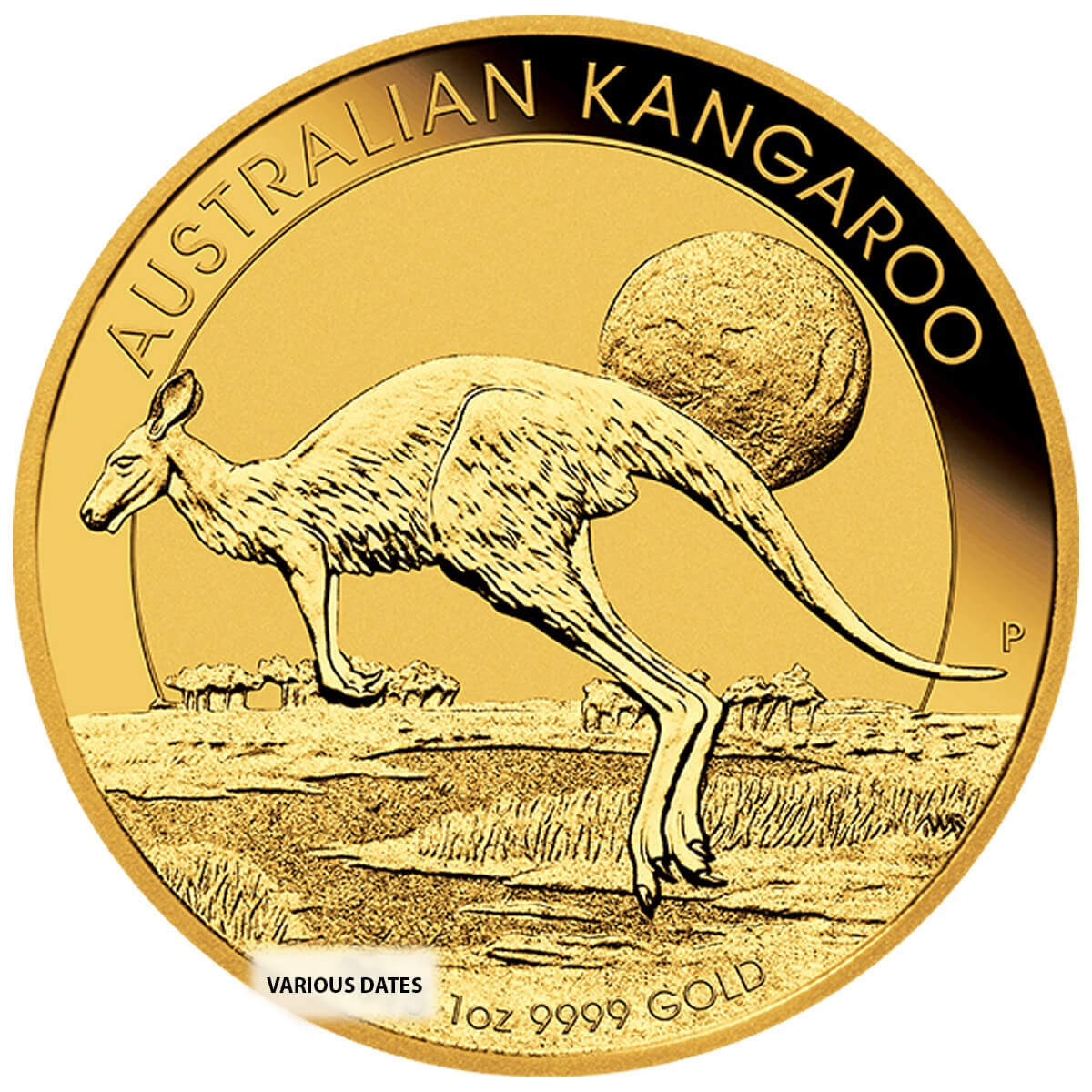 1 Ounce Gold Australian Kangaroo/Nugget Back Dated