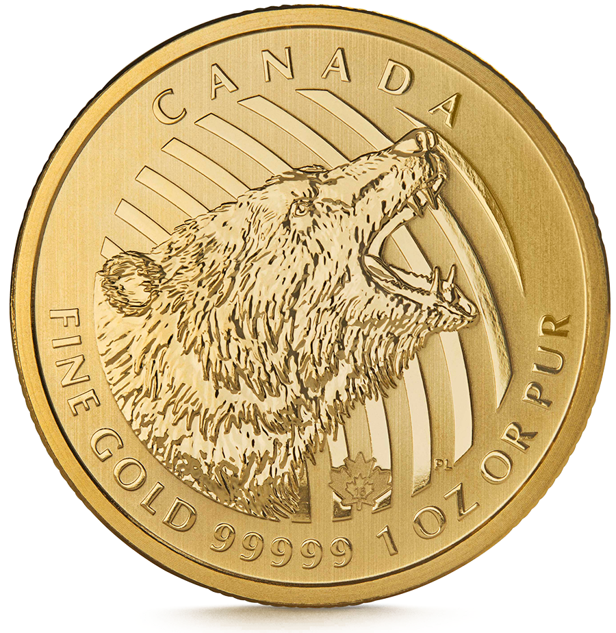 1 Ounce Gold Canadian Roaring Grizzly 2016