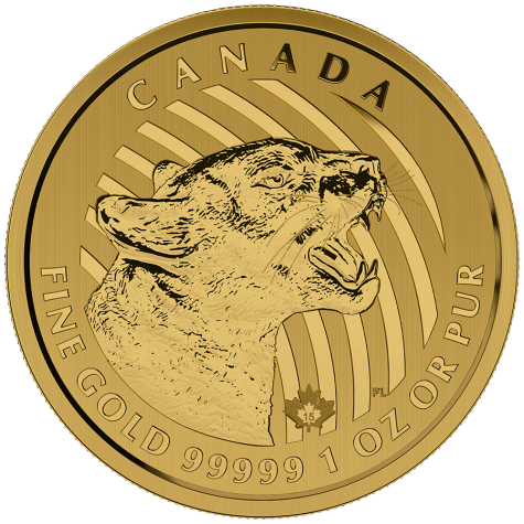 1 Ounce Gold Canadian Growling Cougar