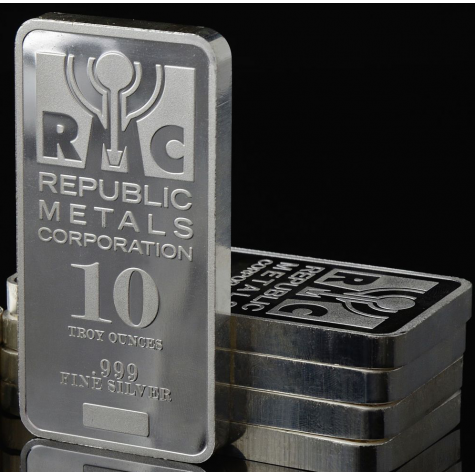 10 Ounce Silver Bar - Republic Metals Corp.