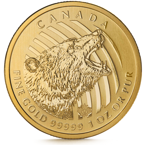 1 Ounce Gold Canadian Roaring Grizzly