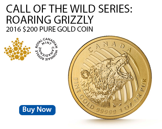 Canadian Roaring Grizzly gold coin